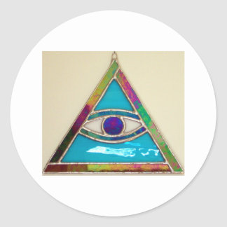 Todo el ojo que ve pegatina redonda