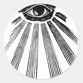 Todo el orden mundial de Illuminati del ojo que ve Etiqueta Redonda