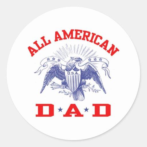 Todo el papá americano pegatinas redondas