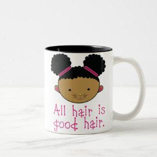 Todo el pelo es buen pelo el conejito de Afropuff Tazas De Café