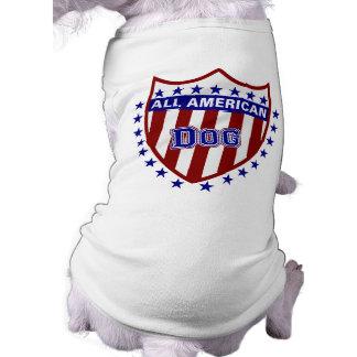 Todo el perro patriótico americano playera sin mangas para perro