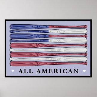 Todo el poster americano de la bandera de los bate