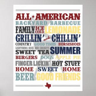 Todo el poster americano de la tipografía de la ba