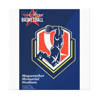 Todo el poster retro del baloncesto americano impresion de lienzo