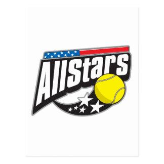 Todo el tenis de las estrellas tarjeta postal