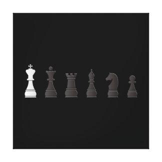 Todo el un blanco negro, pedazos de ajedrez impresión de lienzo