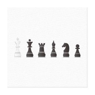 Todo el un blanco negro, pedazos de ajedrez impresión en lienzo estirada