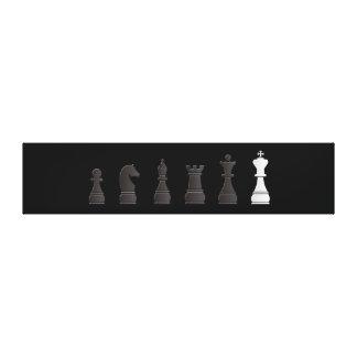 Todo el un blanco negro, pedazos de ajedrez impresiones en lienzo estiradas