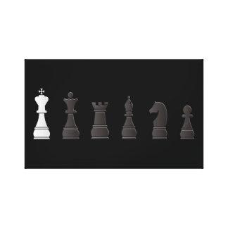 Todo el un blanco negro, pedazos de ajedrez lienzo envuelto para galerías