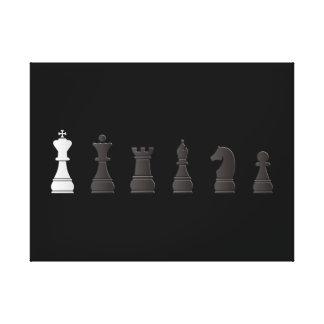 Todo el un blanco negro, pedazos de ajedrez lienzo envuelto para galerias