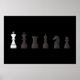 Todo el un blanco negro, pedazos de ajedrez póster