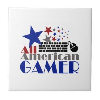 Todo el videojugador americano azulejo cuadrado pequeño