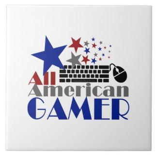 Todo el videojugador americano azulejo cuadrado grande