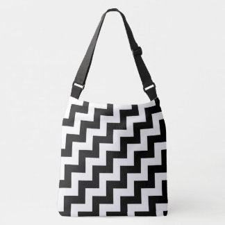 Todo encima - zigzags diagonales blancos y negros bolsa cruzada