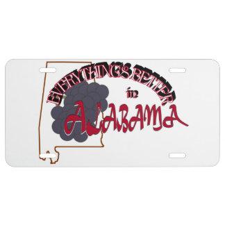 Todo es mejor en la placa de Alabama Placa De Matrícula