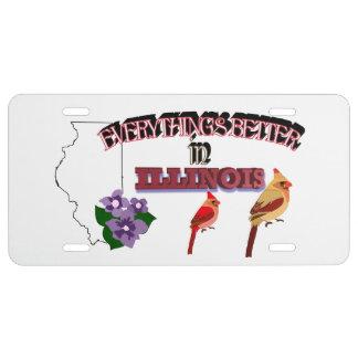 Todo es mejor en la placa de Illinois Placa De Matrícula