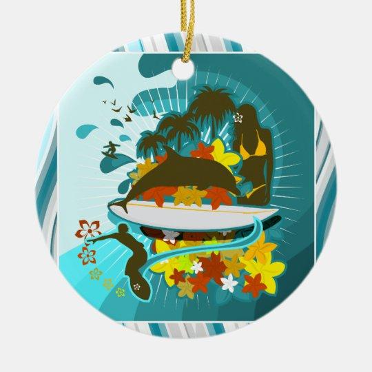 Todo es mejor en la playa adorno navideño redondo de cerámica