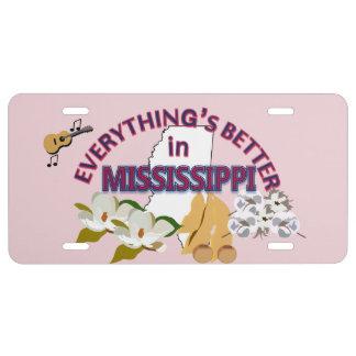 Todo es mejor en los gráficos de Mississippi Placa De Matrícula