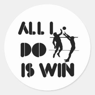 Todo lo que lo hago es triunfo en el voleibol pegatina redonda