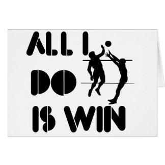 Todo lo que lo hago es triunfo en el voleibol tarjeta de felicitación