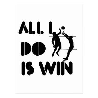 Todo lo que lo hago es triunfo en el voleibol tarjetas postales