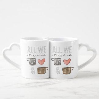 Todo lo que necesitamos es amor y café set de tazas de café