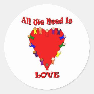 Todo lo que necesitamos es pegatina del amor