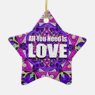 Todo lo que usted necesita es amor adorno de cerámica en forma de estrella