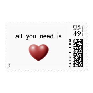 todo lo que usted necesita es amor timbre postal