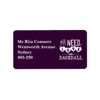 Todo lo que usted necesita es amor y béisbol etiquetas de dirección