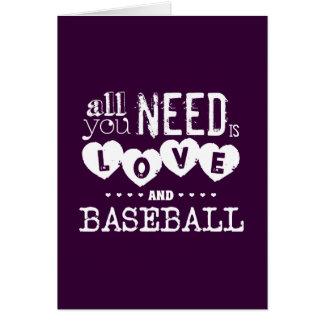 Todo lo que usted necesita es amor y béisbol tarjeton