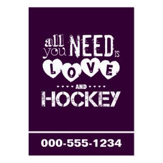 Todo lo que usted necesita es amor y hockey tarjetas de visita grandes