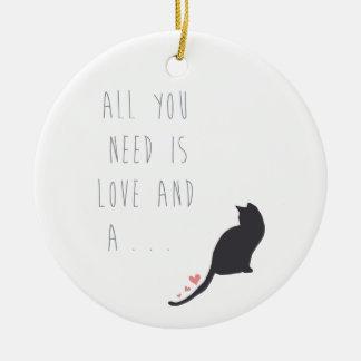 Todo lo que usted necesita es amor y un gato adornos de navidad