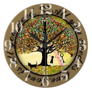 Todo lo que usted necesita es árbol de amor de la reloj redondo grande