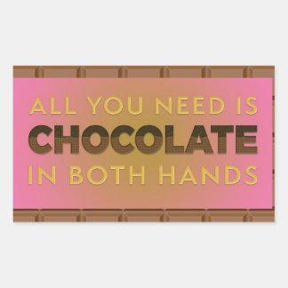 Todo lo que usted necesita es chocolate en pegatina rectangular