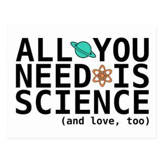 Todo lo que usted necesita es ciencia (y el amor,  tarjeta postal