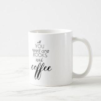 Todo lo que usted necesita es libros y café taza