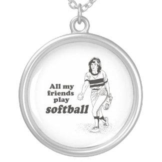 Todo mi softball del juego de los amigos colgante redondo