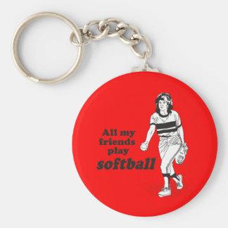 Todo mi softball del juego de los amigos llavero redondo tipo pin