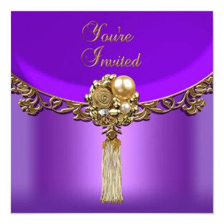 """Todo ocasiona la joya púrpura elegante del fiesta invitación 5.25"""" x 5.25"""""""