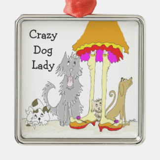 Todo procede a la señora loca del perro de la adorno navideño cuadrado de metal