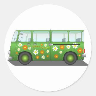Todo sobre el autobús del amor pegatina redonda