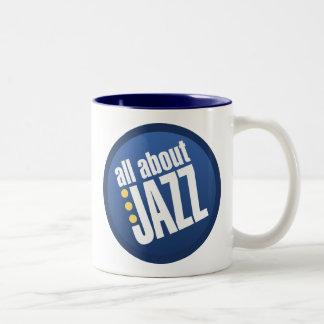 Todo sobre jazz taza de café de dos colores