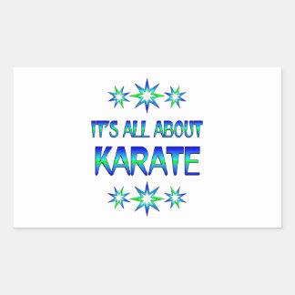 Todo sobre karate pegatina rectangular