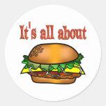 Todo sobre las hamburguesas etiqueta redonda