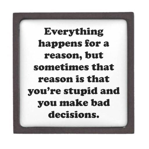 Todo sucede por una razón caja de recuerdo de calidad
