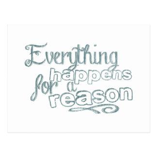 Todo sucede por una razón tarjeta postal