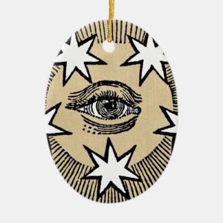 Todo-Ver el ojo Adorno Navideño Ovalado De Cerámica