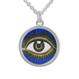 Todo-Viendo el ojo - arte del vintage Collares De Plata Esterlina