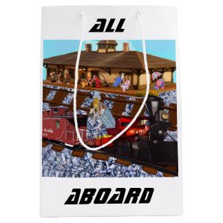 Todos a bordo bolsa de regalo mediana